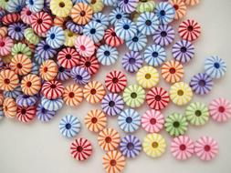 100 Assorted Color Mini Donut Wheel Resin Clay Bead 9mm/Craf