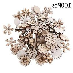 100pc Laser Cut Wood Flowers and leaves Embellishment Wooden