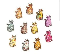 12PC Kitty Cat Wooden Buttons Embellishments Scrapbooks Sewi
