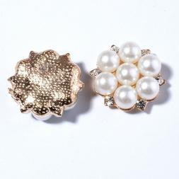 15PCS 23MM Fashion Pearls Rhinestone Buttons For Clothing Cr