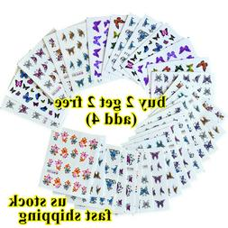 30 Sheets Colorful Butterfly Nail Art Stickers Water Transfe