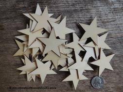 50 qty 2 inch Star Wood Flag Embellishments Shapes Crafts Or