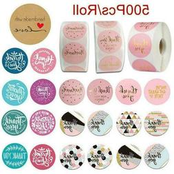 500* Thank You Stickers Hand Made With Love Labels Round-Hea