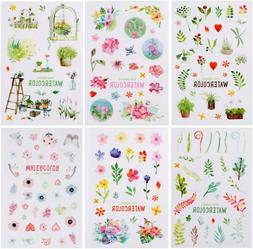 6 Sheets Watercolor Flowers Stickers Papercraft Planner Supp