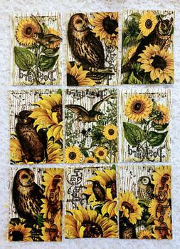 9 Vintage Sunflowers & Owls~Greeting Card Making Toppers~Emb