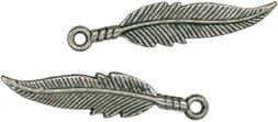Antique Silver Feather Charms - 1.0625