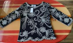Black Polyblend Blouse With Floral Braided Embellishments S