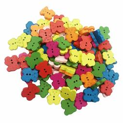 Colorful Wood Bear Shaped Buttons Embellishments Sewing Scra