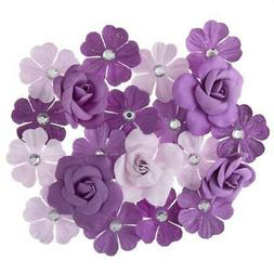 Darice 20 pc Violet MULBERRY FLOWERS Floral Embellishment Pu