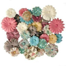 Darice 36 pc Button DAISY PRINTED MIX Floral Embellishment F