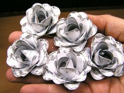 FIVE White Roses, metal flowers for crafts, jewelry, embelli