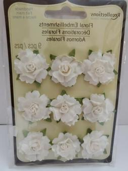 Recollections Floral Embellishments Handmade Flowers 9 Piece