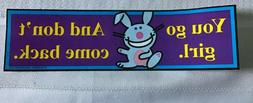 """Happy Happy Bunny Stickers - 8 1/2""""x2 1/2"""" for cars, bumpe"""
