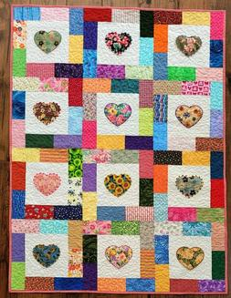 heart quilt pastels embroidery embellishment crib or