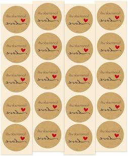 """""""Homemade with Love"""" Kraft Stickers 