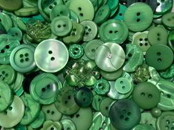 Incredible Mixed Lot Of Dyed GREEN Premium Buttons All Sizes