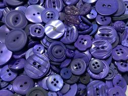 Incredible Mixed Lot Of Dyed PURPLE Premium Buttons All Size