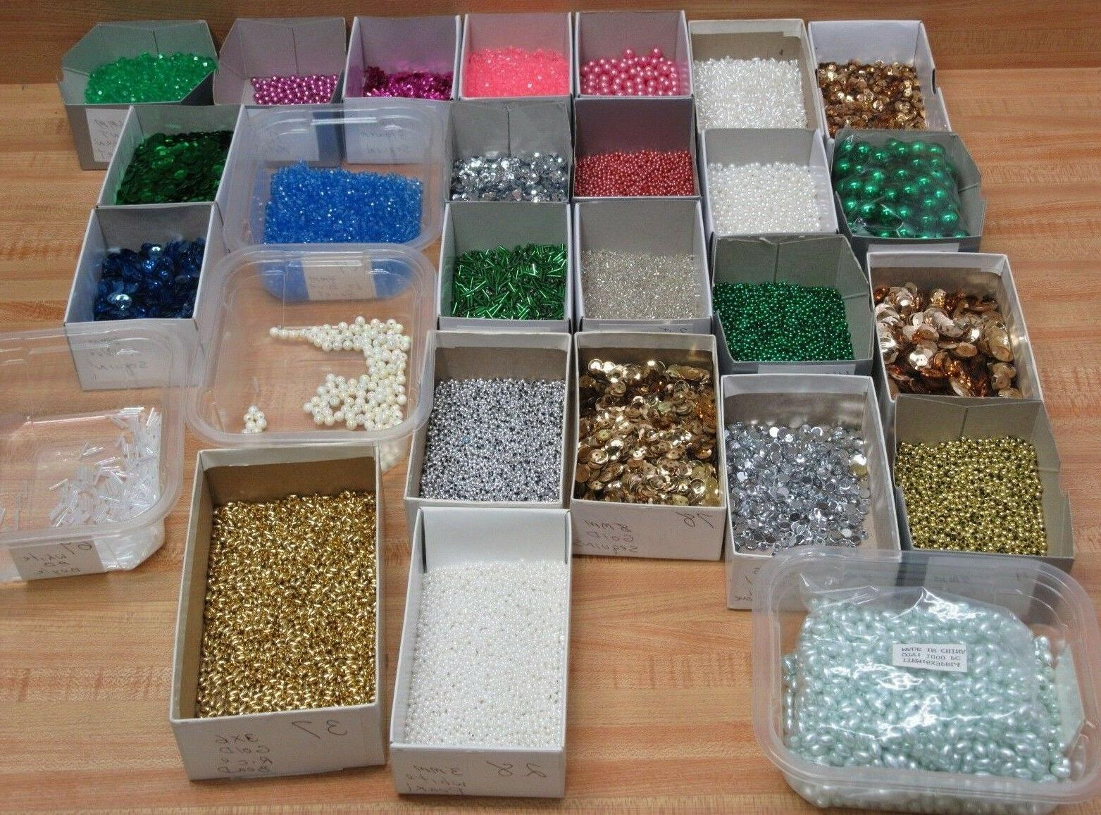 mixed lot assorted color beads and sequins
