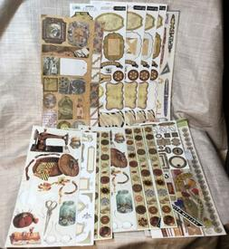 Lot 400+ mixed Stickers Antiques Buttons Pens Frames Keys Fe