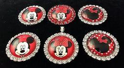 MICKEY MINNIE MOUSE 27mm GLASS DOME FLATBACK CABOCHON RHINES