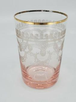 Moser? pink to clear gold swirl etched embellishments juice