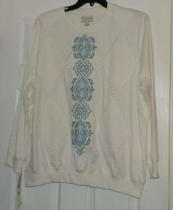 Alfred Dunner's  Center Scroll Embroidery Quilted Top, Shirt
