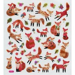 Scrapbooking Crafts Stickers Foxes Fox Repeats Leaves Flower