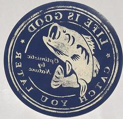 """Life is Good Sticker 4"""" Round 'Catch You Later' Navy & Beige"""