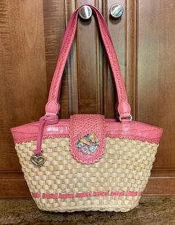 Brighton Straw Bucket Tote Pink Leather Trim & Butterfly & F
