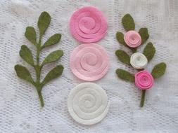 Wool Blend Felt Rolled Flowers and Green Steams